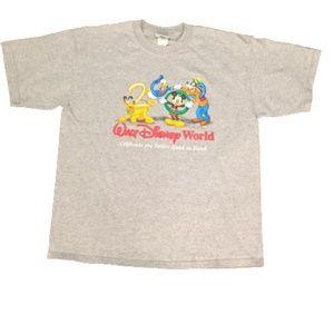 VTG Disney World 2000 T Shirt Large Gray